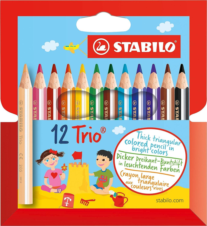 Dreikant-Buntstift Trio dick Kartonetui mit 18 Stiften STABILO 3168070203183