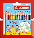 Crayon de coloriage - STABILO Trio court - Étui carton de 12 mini crayons de couleur triangulaires