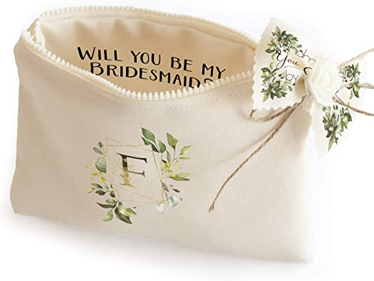 Embroidered Initial Pouch Bag personalized bag jewelry packaging pouch Personalized Canvas Pouch Bridesmaid Gift Gifts Wedding Favor