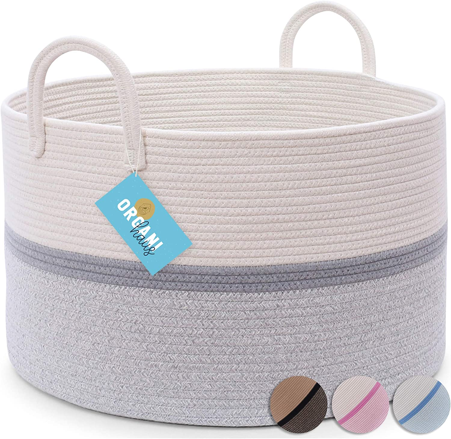 """OrganiHaus XX-Large Grey Nursery Basket of Natural Cotton Rope Woven with Multiple Blended Colors   Perfect for Laundry, Toys, Baby Clothing, Diapers, Storage   Stylish 20""""x13"""" Baby Hamper Basket"""