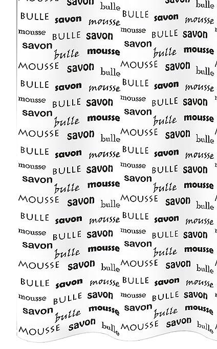 Cortina de ducha textil con anillos Savon en color blanco con Inglés, color Francés,