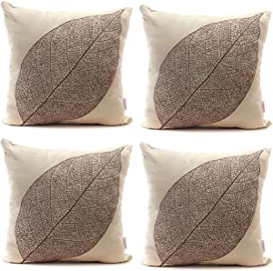 Luxbon Set of 4Pcs Rustic Farmhouse Leaves Decor Cotton Linen Throw Pillow Cases Sofa Couch Chair Decorative Cushion Covers 18