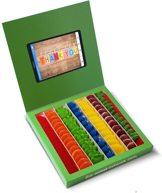 Caja golosinas Whatsapp 23x23cm con mensaje THANK YOU, su interior contiene 750g de golosinas Rainbow
