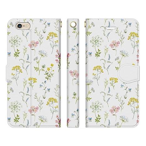 148187d2e7dd Ruuu iPhone6 iPhone6s 手帳型 スマホ ケース カバー 花柄 ボタニカル ホワイト 花 小花柄 かわいい