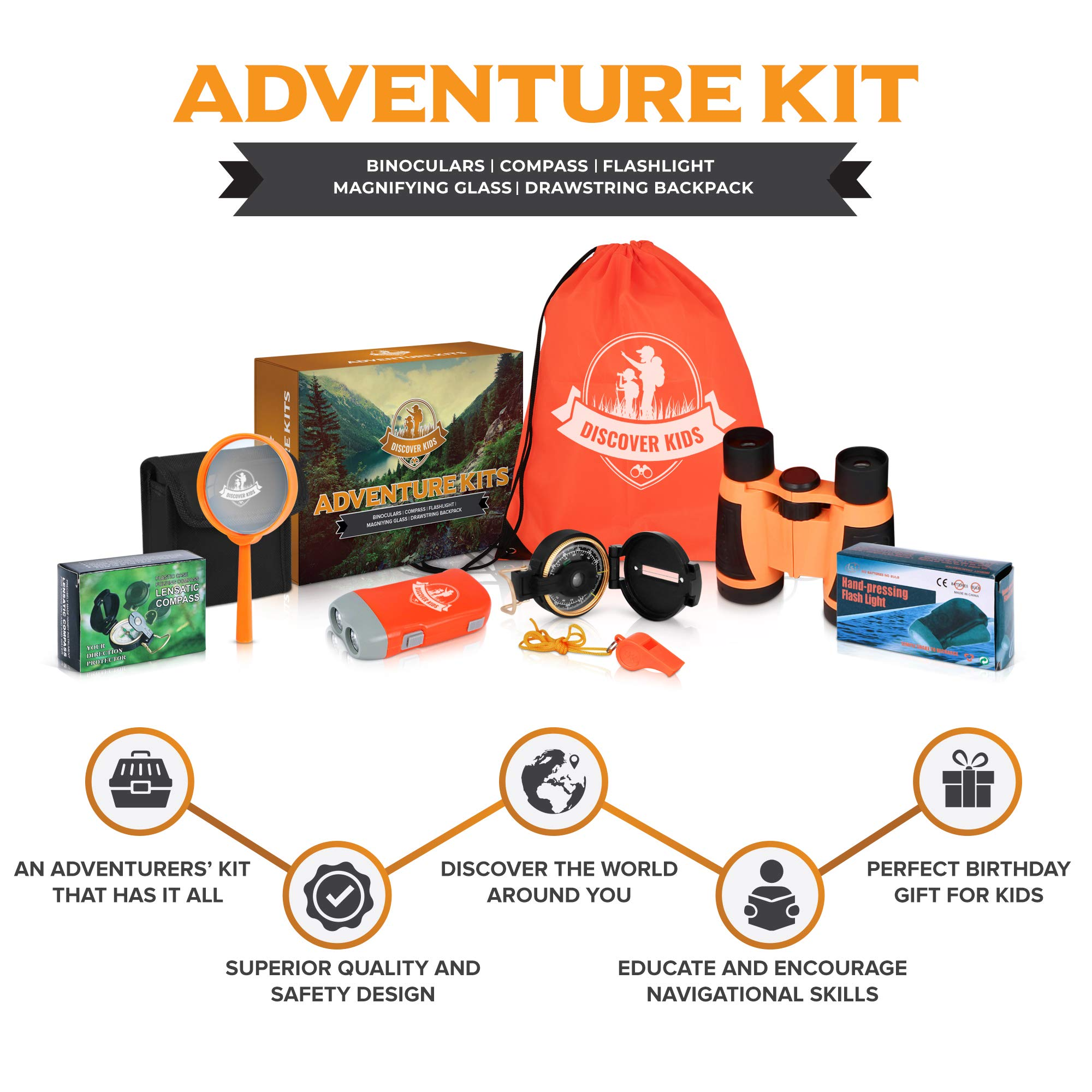Discover Kids - Outdoor Exploration and Adventure Kit - Children's Toys, Binoculars, Flashlight, Compass, Whistle, Magnifying Glass, Backpack. Designed for Children, Great STEM Gift for Kids