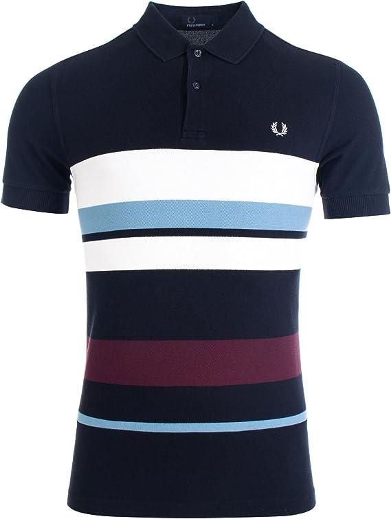Fred Perry - Camiseta - para hombre Azul azul marino XX-Large ...