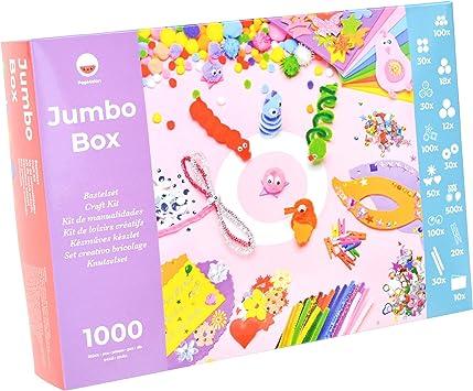 Pepmelon 33017 Jumbo Box Bastelset 1031 Teilig Bastelanleitung Mit Kreative Ideen Bastelkoffer Für Mädchen Alles Könner Kiste Mit Moosgummi