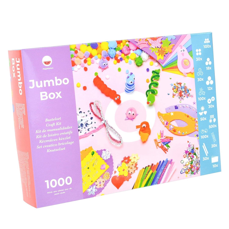 PepMelon - Jumbo Box Kit de Manualidades, 1031 Piezas, y Guía de Manualidades con Ideas Creativas para Trabajar con los niños. Una Caja juguetona, el ...
