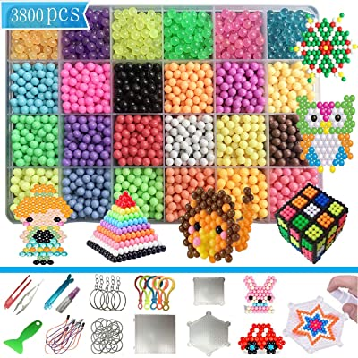 PPEEGOO Abalorios Cuentas de Agua 3800 Perlas 24 Colors(6 Jewel Crystal) Niños Craft Kits DIY Elaboración Educativo Juguetes (3800 Beads Refill Set) (3800 Beads 24 Colors Pack): Juguetes y juegos