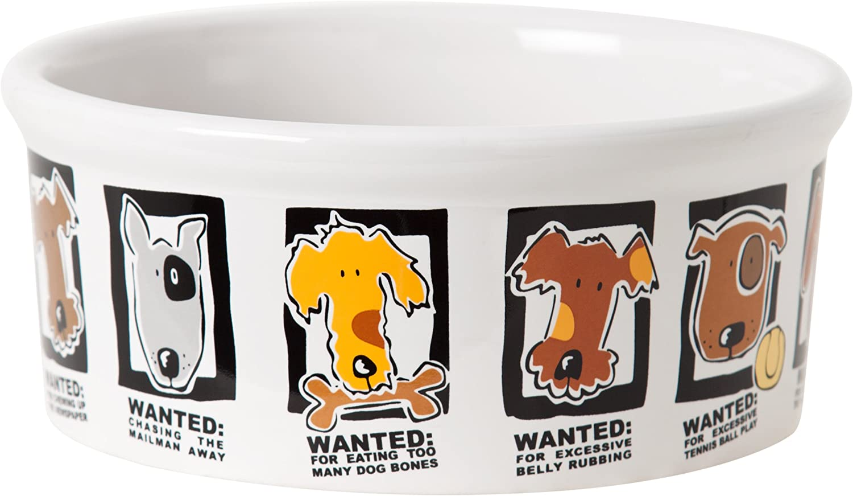 Signature Housewares Mug Shots Dog Bowl, Small