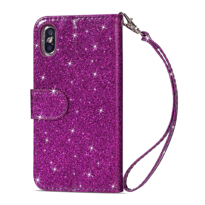 Coque Samsung Galaxy S9 Glitter Strass,Portefeuille Flip Case pour Galaxy S9 Housse /à Rabat Portefeuille PU Cuir Luxe Amour Paillettes /Étui de Protection avec Fente pour Carte,Noir