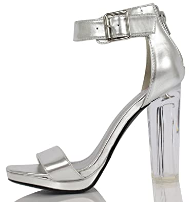 f003e93c37b6 Delicious Women s Cargo Wide Strap Ankle Strap Clear Lucite High Heels