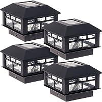GreenLighting 4 Pack Modern Design Solar Powered 5 Lumen Post Cap Light for 4x4...