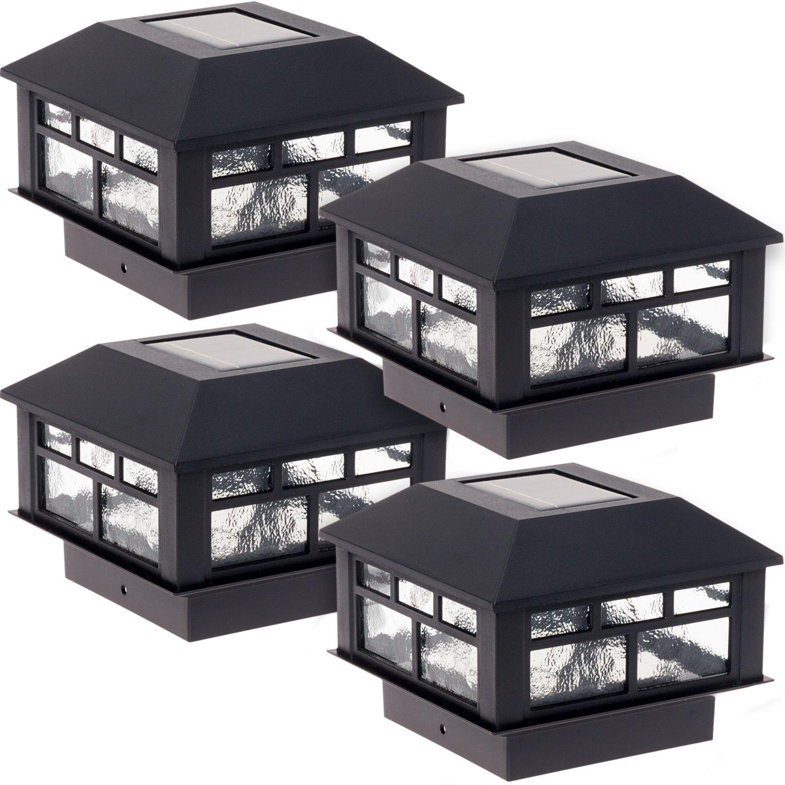 GreenLighting 4 Pack Modern Design Solar Powered Post Cap Light 4x4 Wood Posts (Black)