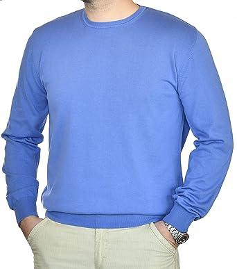 Jersey para Hombres con Cuello Redondo de Manga Larga 100% algodón Puro Blando y Suave: Amazon.es: Ropa y accesorios