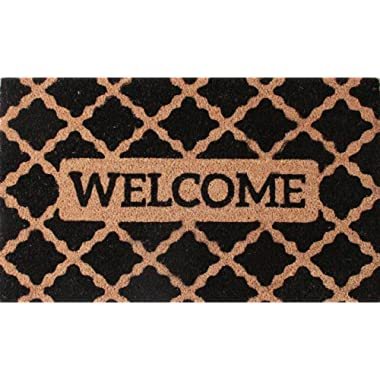 CastleMats Welcome Coir Doormat by Castle Mats, Size 18 x 30 inches, Non-Slip, Durable, Made Using Odor-Free Natural Fibers