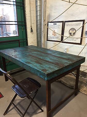 Vintage Esstisch Tisch aus Holz klappbar Shabby-Chic – Althaolz blue ...