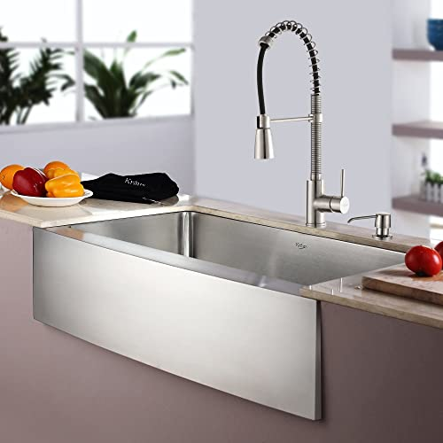 Kraus KHF200-33-KPF1612-KSD30SS 33 Farmhouse Single Bowl Stainless Steel Kitchen Sink with Stainless Steel Finish Kitchen Faucet and Soap Dispenser