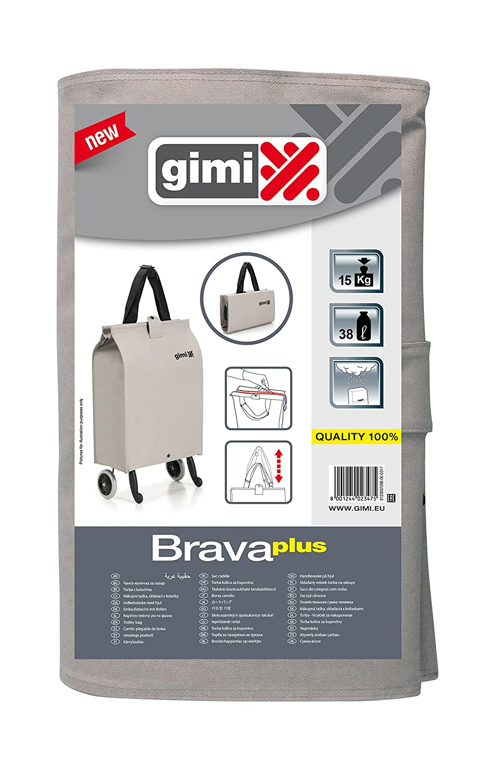 Amazon.com - GIMI 157770 Shopping Bag Brava Plus Shopping Bag Fabric, Beige, 7 x 45 x 30 cm -