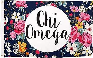 Chi Omega Floral Pattern Letter Sorority Flag Greek Banner Large 3 feet x 5 feet Sign Decor chi o (Flag - Floral)
