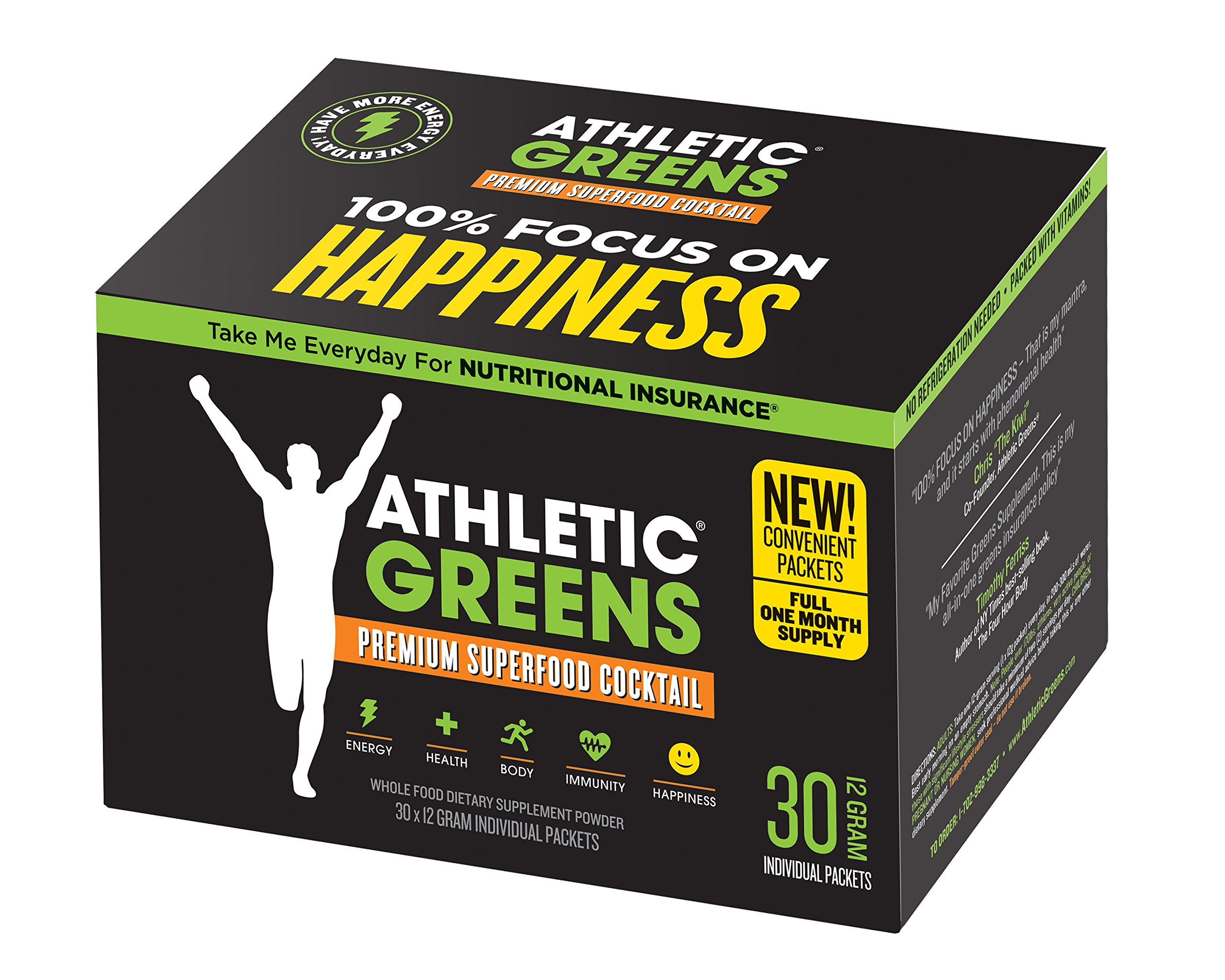 Athletic Greens - Premium Green Superfood Cocktail - Complete Greens Powder Drink - Daily Probiotic - Multivitamin - Antioxidant - Alkaline - Vegan - Non-GMO - Gluten Free - 30 Day Travel Packs