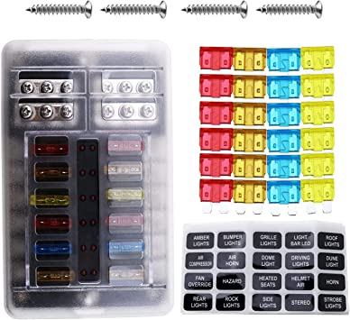 12 Way Blade Fuses Holder Block Dc 32v Fuse Box Kit With Protection Damp Proof Safe Cover 24x Blade Fuses Labeling Sticker 4x Fixing Screws Amazon Co Uk Car Motorbike