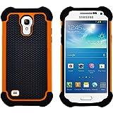 GizzmoHeaven Samsung Galaxy S4 Mini Hülle Stoßfest Handy Schutzhülle Stoßgedämpfter Extraharte Tasche Silikon Gel Hybrid Armor Cover Case Etui für Samsung Galaxy S4 Mini (i9195) - Orange