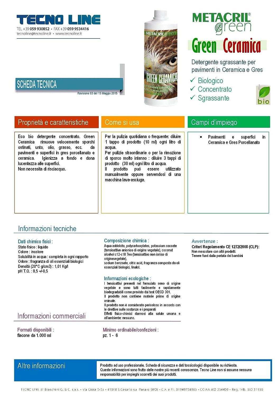Metacril Green Ceramica - Limpiador ecológico para suelos de cerámica y gres porcelánico, 1 litro: Amazon.es: Hogar