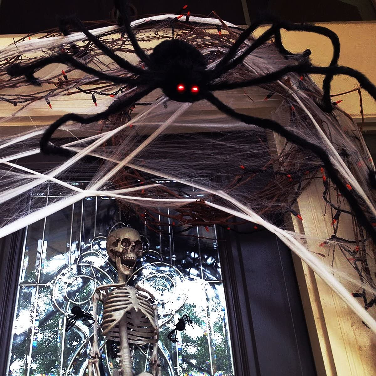 Halloween Spider Decorations with LED Eyes Scary Sound Adjustable for Halloween Bedroom Decor 125CM