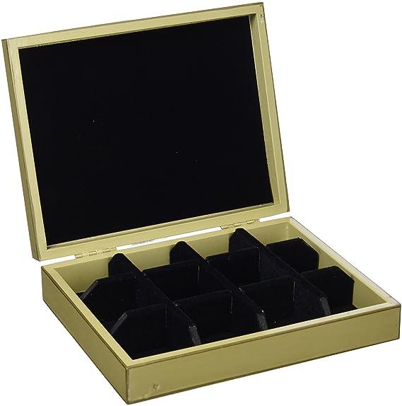Fundashop FCPV22 - Caja de gemelos, decoración de mapamundi, madera, color hueso y