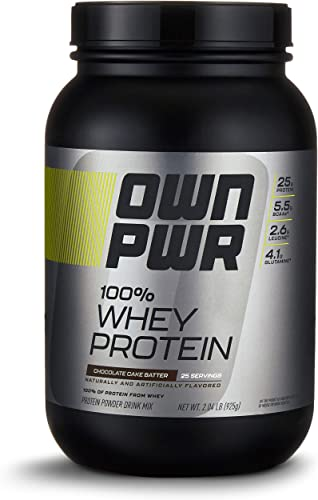 OWN PWR 100 Whey Protein Powder, Chocolate Cake Batter, 25 G Protein with Enzymes, 2 Pound 25 Servings