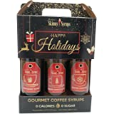 Jordan's Skinny Syrups - Happy Holidays Syrup Set of 3 x Gourmet Coffee Syrups - Salted Caramel, White Chocolate, Peppermint Bark