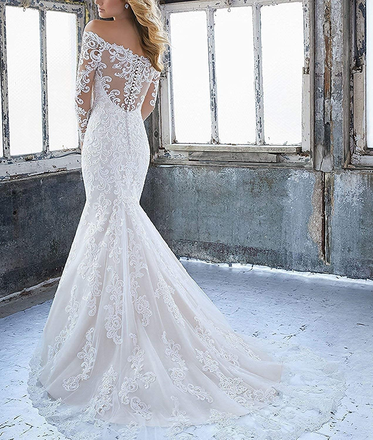 Womens Long Sleeves Wedding Dresses Off The Shoulder Full Lace ...