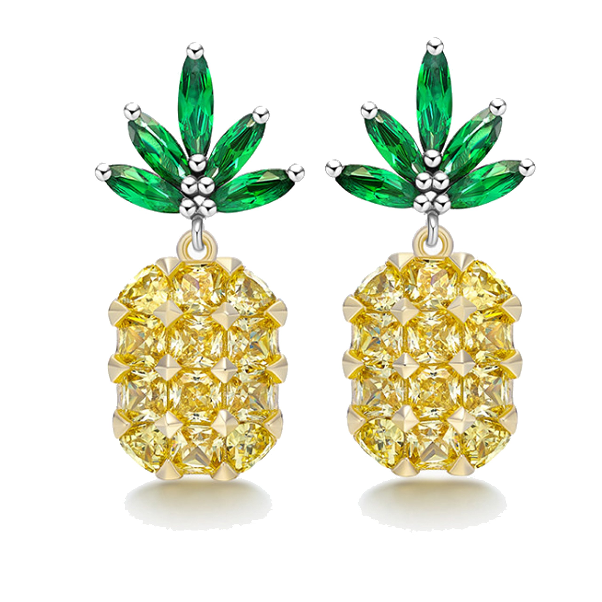Zirconia inlay Fruit Pave Pineapple Stud Earrings by HI-YOU HOME (Shiny pineapple)