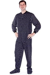 e107e33fa6a Big Feet Pajama Co. Black   White Plaid Cotton Flannel Adult Footed Pyjamas  Onesie for