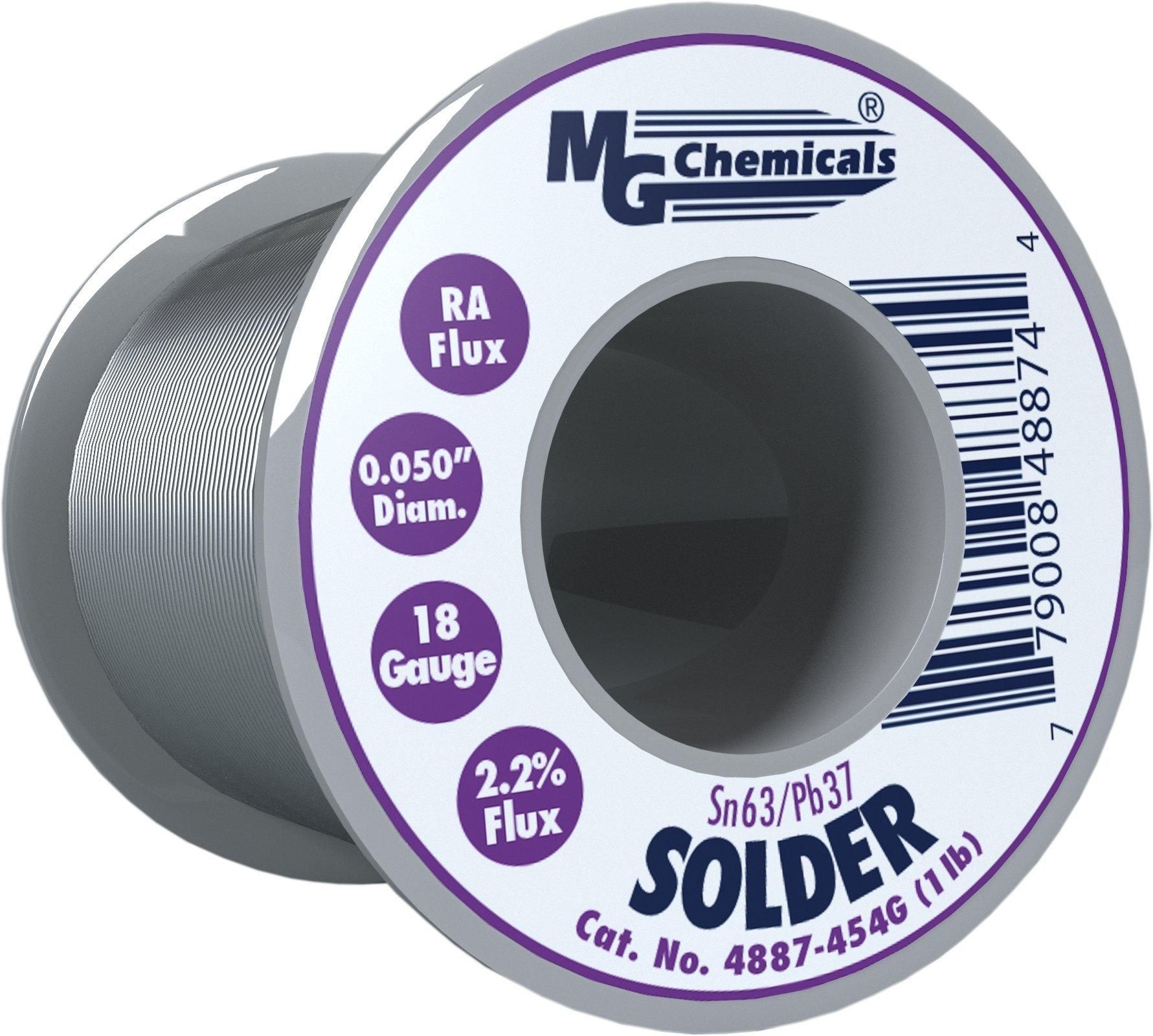 MG Chemicals 63/37 Rosin Core Leaded Solder, 0.05'' Diameter, 1 lb Spool