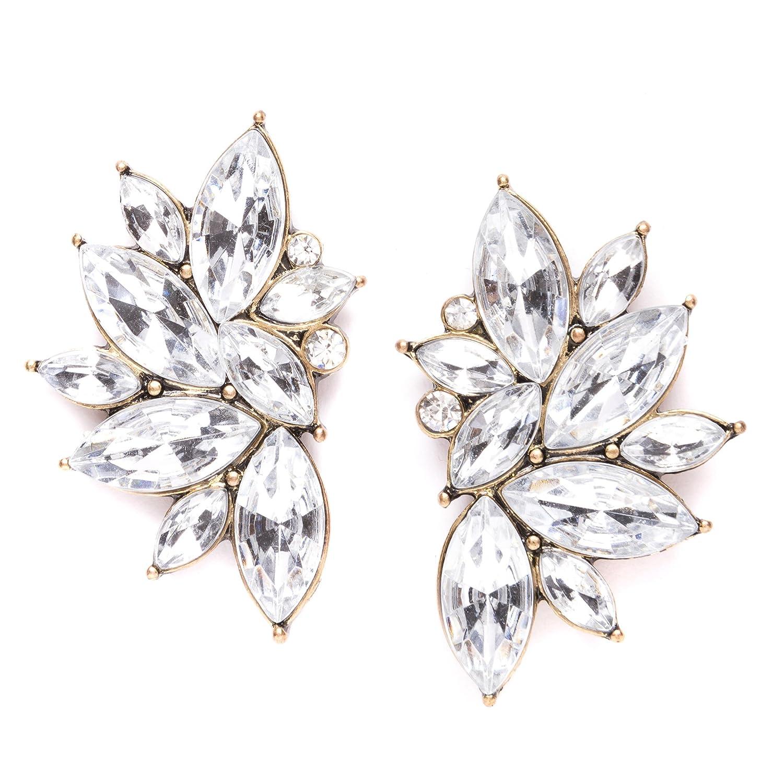 Statement Earrings in Silver | Large Stud Earrings in Neutral Color with  Flower Design nickel free