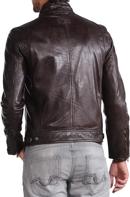 Ayesha Mens Leather Jackets Motorcycle Bomber Biker Genuine Lambskin 69