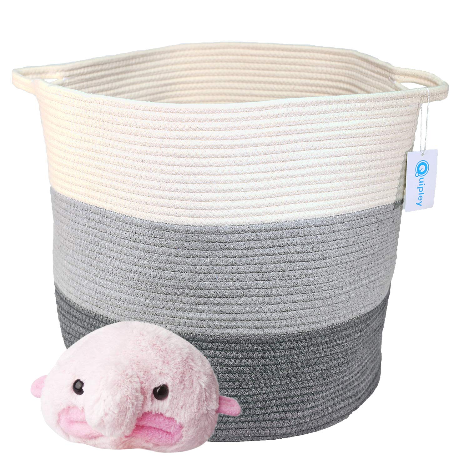 QUIPLEY Premium Quality 17'' x 18'' Cotton Rope Woven Basket White Iceblue Gray - Large Basket for Hampers Storage Laundry Hamper Baby Nursery - Decorative Home Blanket Bin for Clothes Comforter Pillow by Quipley