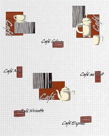 Küchen Tapete EDEM 062 20 Tapete Café Kaffeehaus Mosaiksteine  Kachelstruktur Weiß Creme Schoko Braun