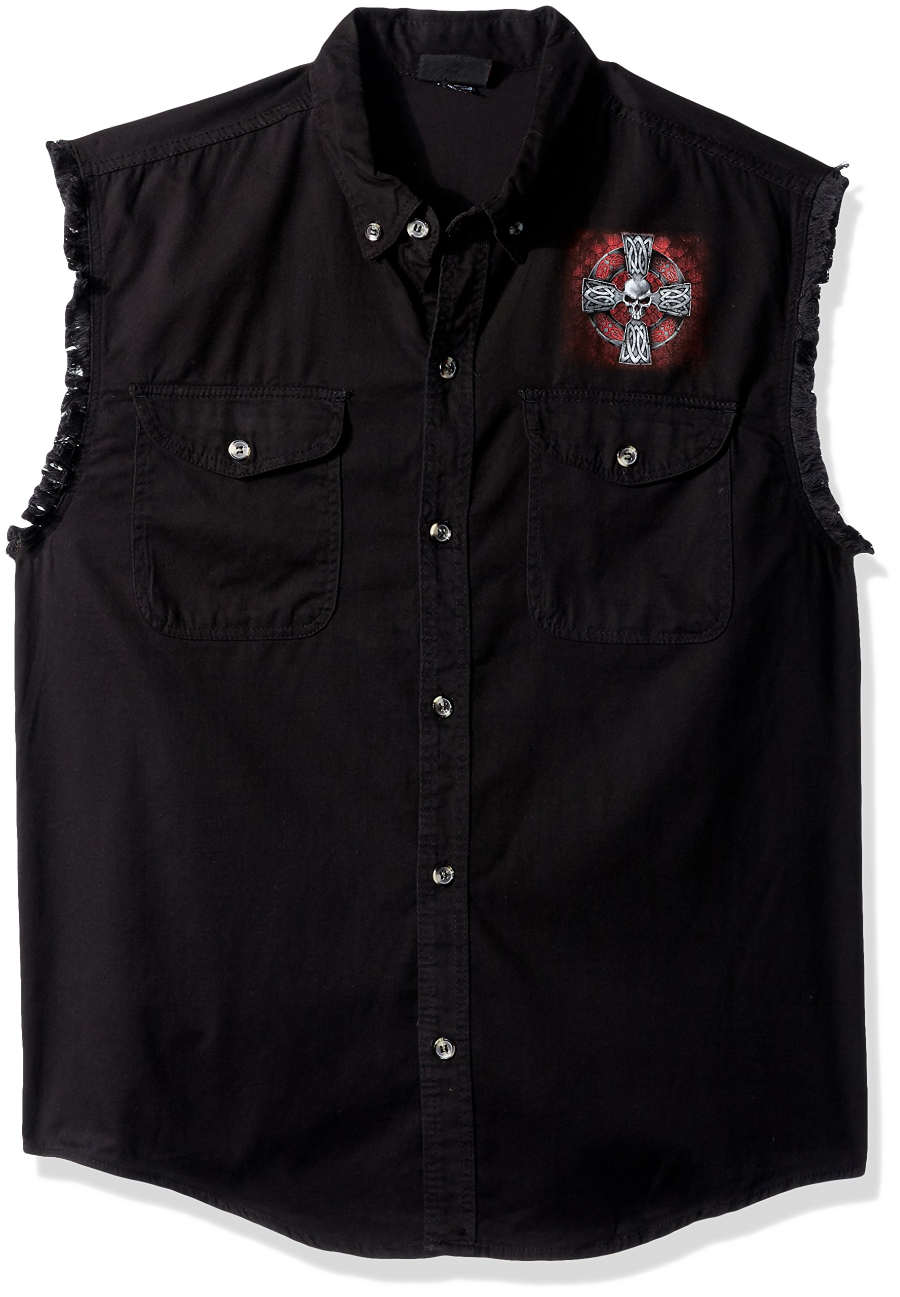 Hot Leathers Men's Celtic Cross Sleeveless Denim (Black, XX-Large)
