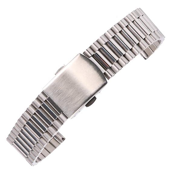 16 mm correas de reloj elegantes damas sólida de acero inoxidable brillante pulsera de plata para el reloj inteligente clásica: Amazon.es: Relojes
