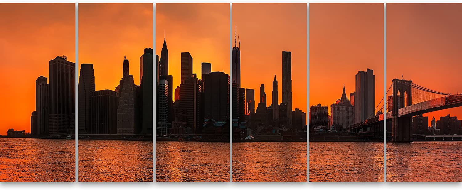 70x28-6 Equal Panels Designart PT14361-70-28-6P Silhouettes of Manhattan Panorama-Extra Large Cityscape Wall Art on Canvas