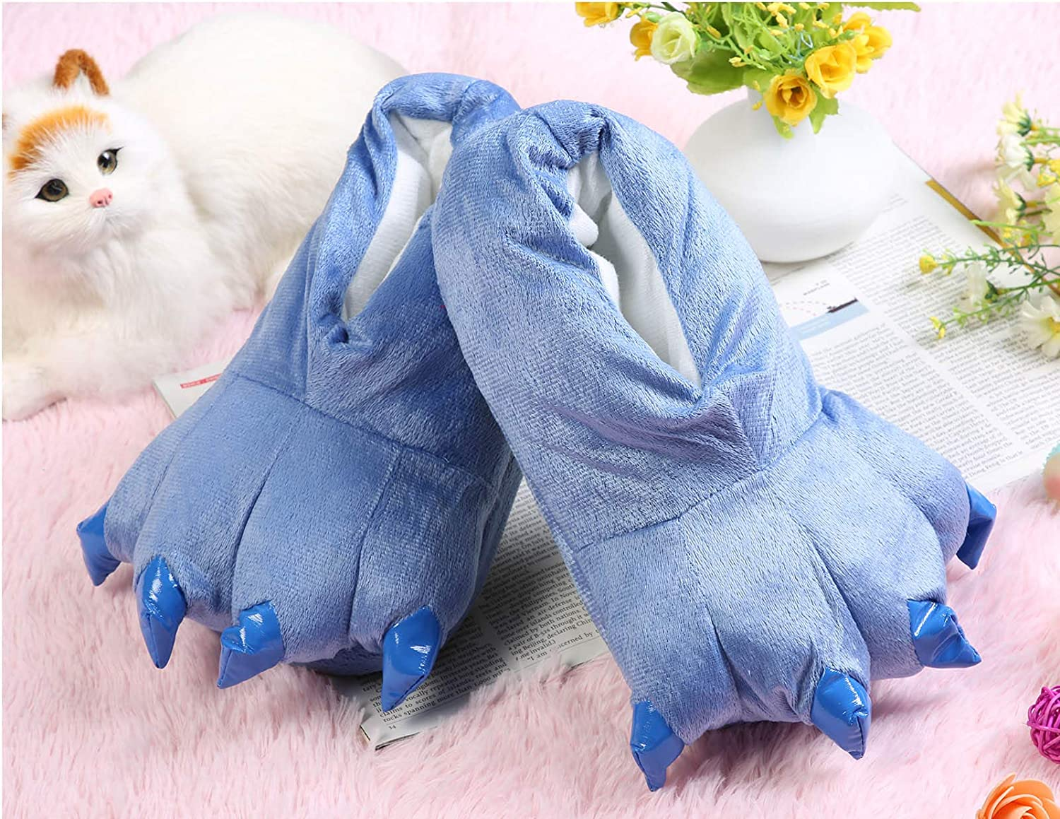 Queen.Y Home Slippers,1 Pair Winter Unisex Soft Dinosaur Paw Flannel Slippers Animal Costume Shoes Keep Feet Always Warm Pair with Animal Pajama Outfits