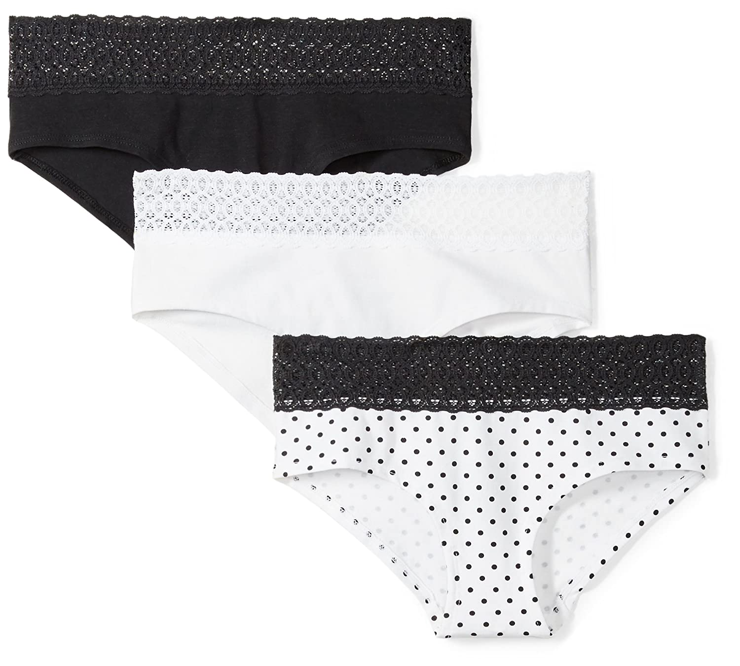 9066655bcfce Amazon.com: Mae Women's Lace Waistband Cotton Hipster Panty, 3 Pack:  Clothing