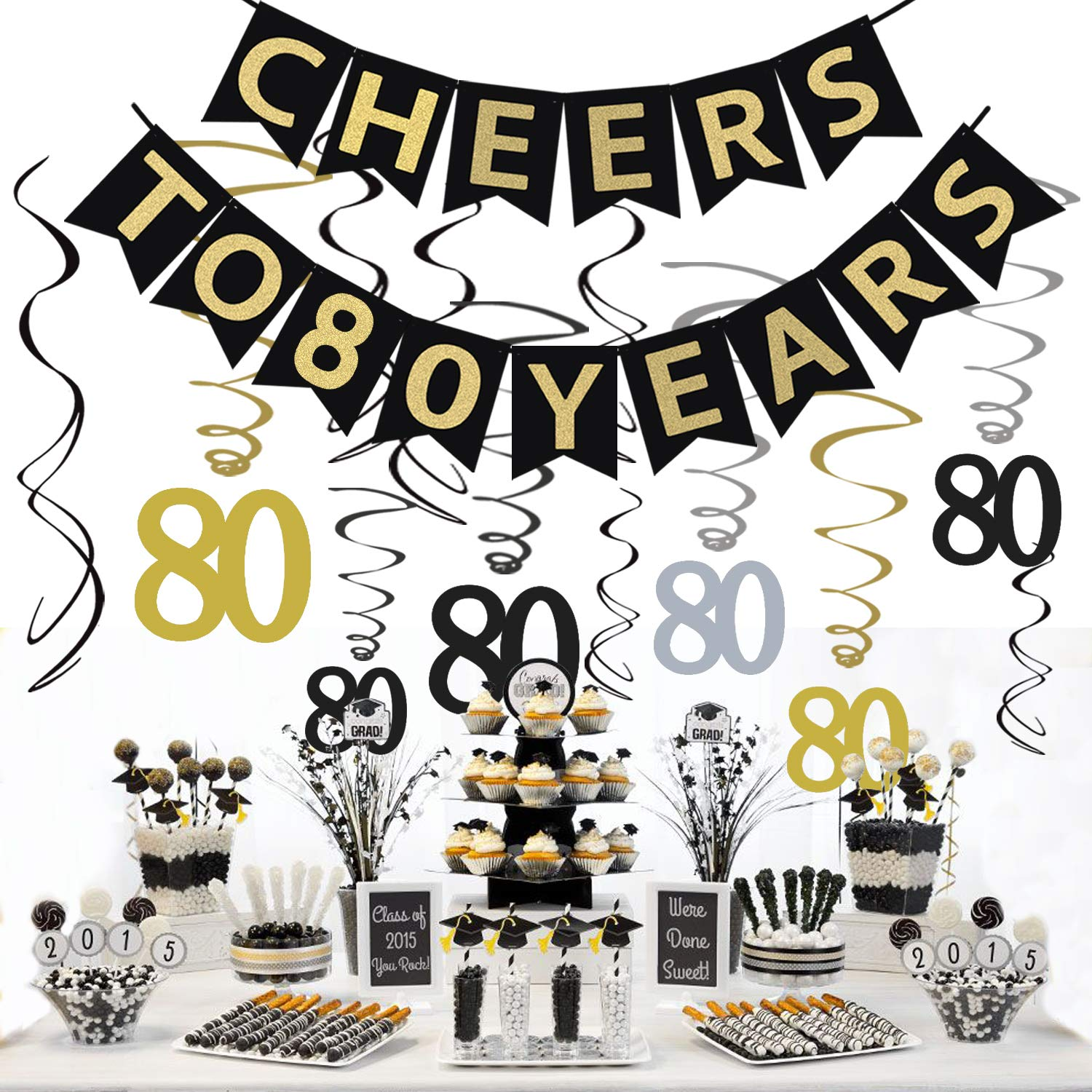 Tuoyi 80th Birthday Party Decorations KIT - Cheers to 80 Years Banner, Sparkling Celebration 80 Hanging Swirls, Perfect 80 Years Old Party Supplies 80th Anniversary Decorations by Tuoyi (Image #5)