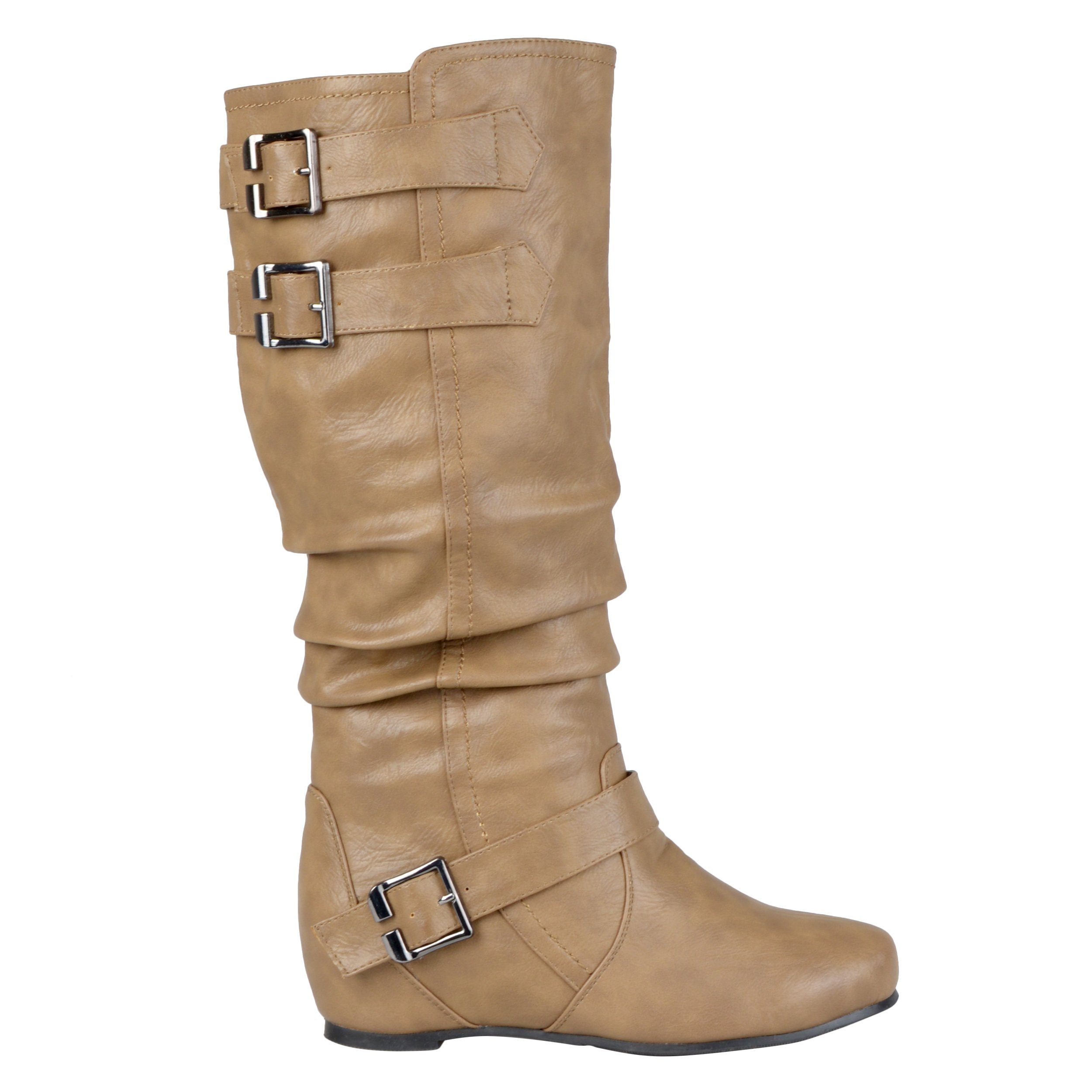 Brinley Co Women's Cammie Slouch Boot, Taupe, 8 M US