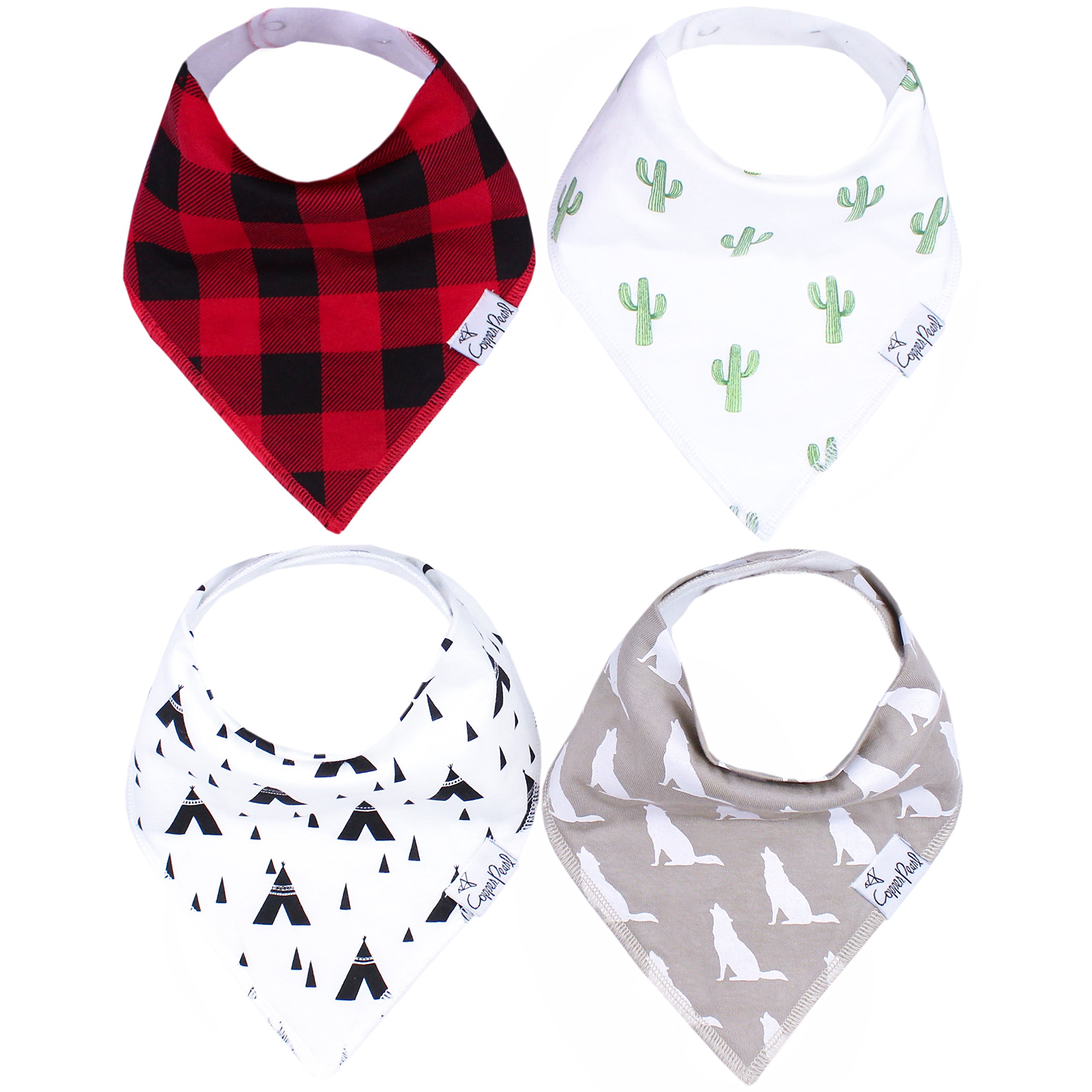 Baby Bandana Drool Bibs for Drooling and Teething 4 Pack Gift Set For Boys ''Phoenix Set'' by Copper Pearl