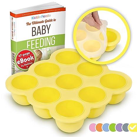 KIDDO FEEDO Contenedor para comida de bebés y bandeja de silicona con tapa - Sin BPA