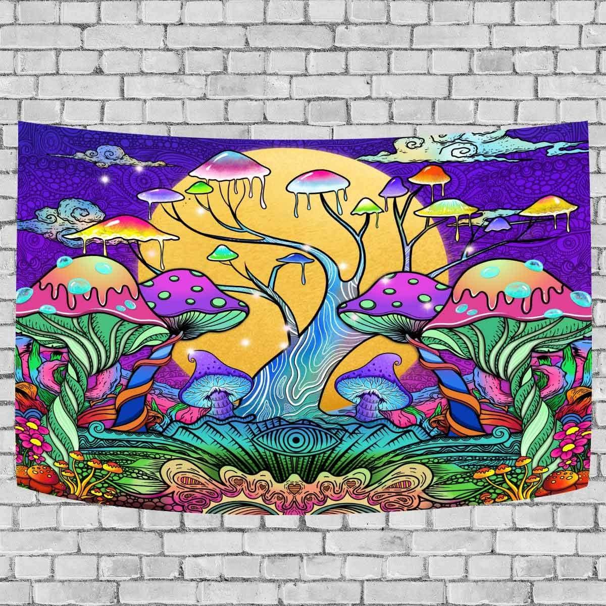 DBLLF Magical Mushroom Tree Tapestry, Full Moon in Fantasy Forest Tapestry, 60